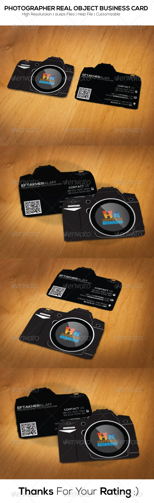 GraphicRiver Photographer Real Object Business Card 6474465