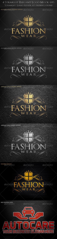 4 Straight Elegant Logo Mock-ups - Logo Product Mock-Ups