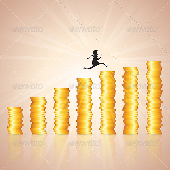 GraphicRiver Hopping on Gold Coin Ladder 6475861