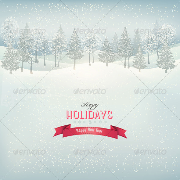 GraphicRiver Holiday Background with Winter Landscape 6475972