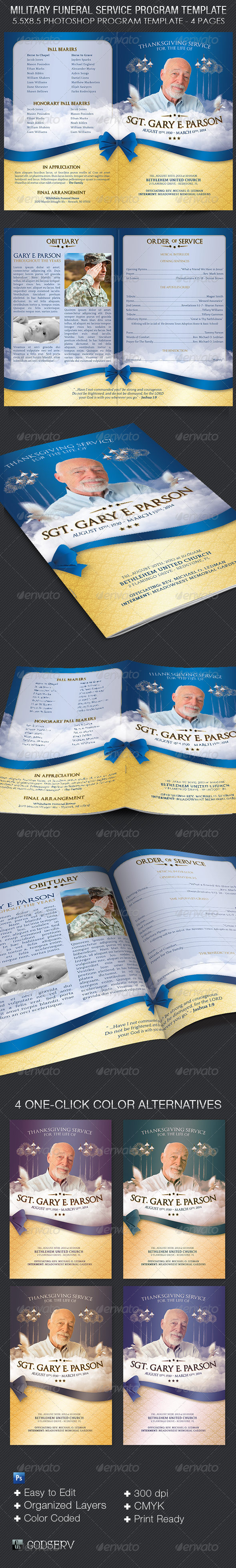 GraphicRiver Military Funeral Service Program Template 6476256