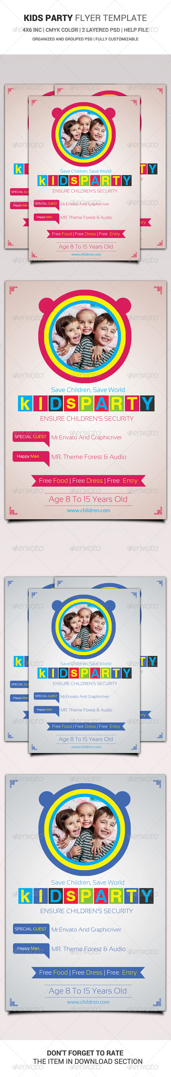 GraphicRiver Kids Party Flyer Template 6476262