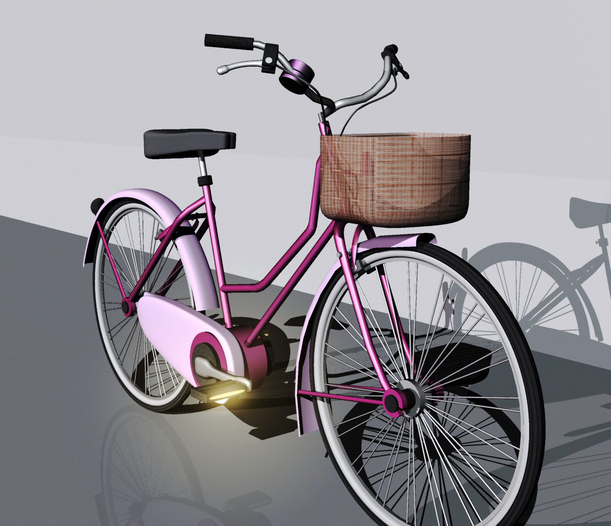 Woman Old Style Bicycle
