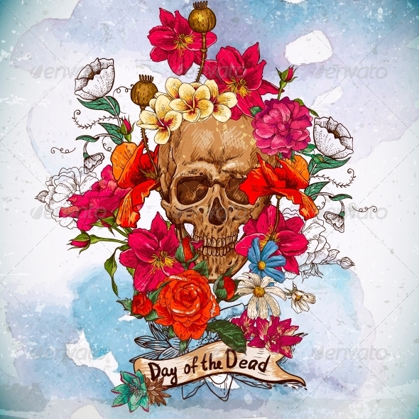 GraphicRiver Skull and Flowers Day of The Dead 6477355