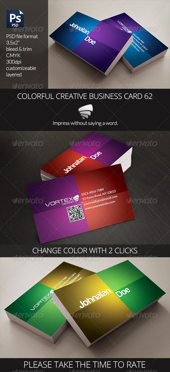 GraphicRiver Colorful Creative Business Card 62 6477471