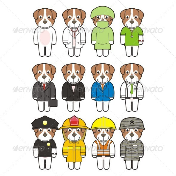 GraphicRiver Puppies with Suit and Uniforms 6477849