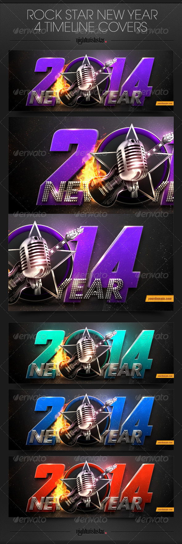 GraphicRiver New Year Rock Stars Timeline Cover 6477915