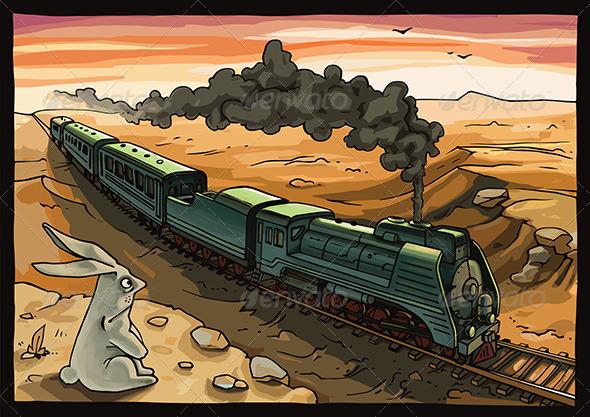 GraphicRiver Steam Locomotive and Rabbit 6477984
