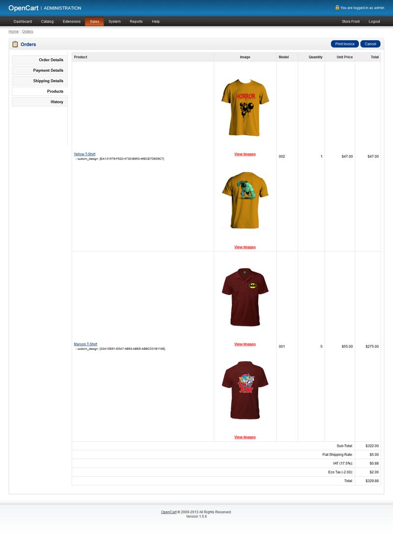 Joomla tshirt design - Opencart Custom T Shirt Design