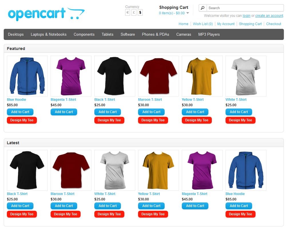 Shirt design maker app - Opencart Custom T Shirt Design
