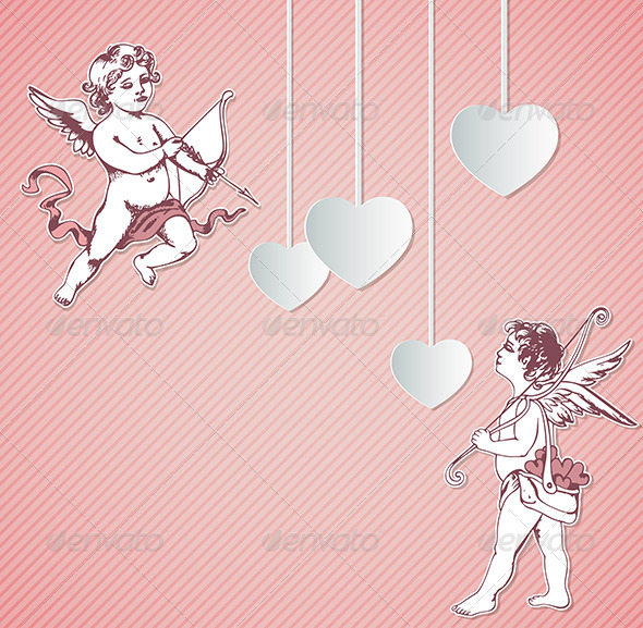 Valentine Background with Cupids