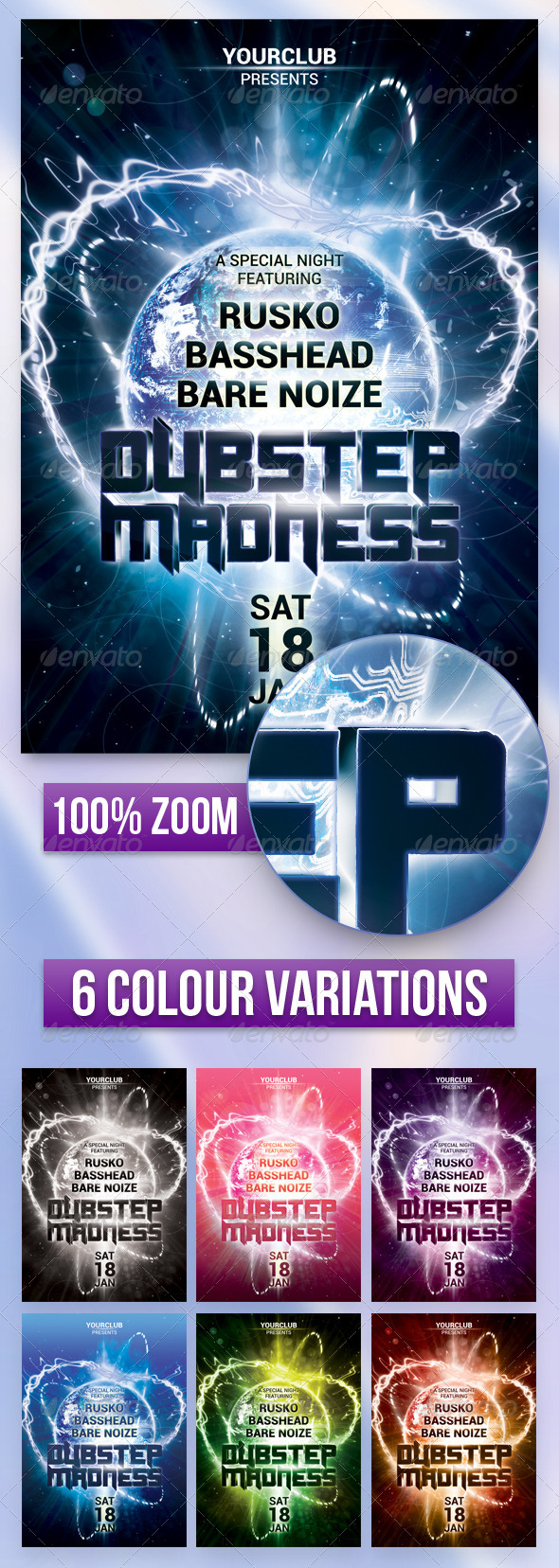 GraphicRiver A5 Dubstep Madness Club Flyer Poster 7 in 1 6440750