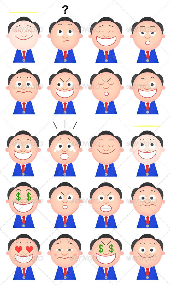 GraphicRiver Funny Businessman Set 20 Cartoon Characters 6480059