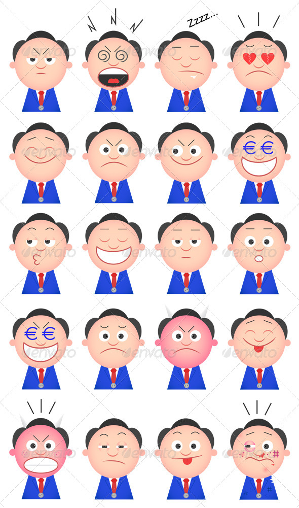 GraphicRiver Funny Businessman Set 20 Cartoon Characters 6480065