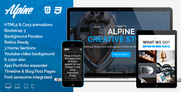 intro img.  large preview Alpine   Responsive One Page Parallax Template (Creative)