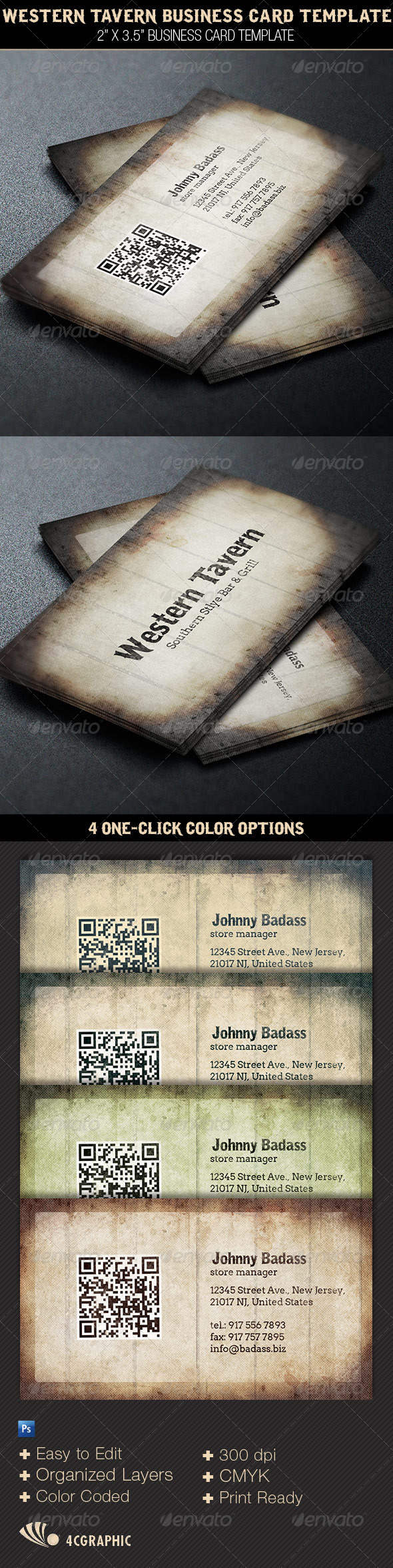 Western Tavern Business Card Template | Four C Graphic