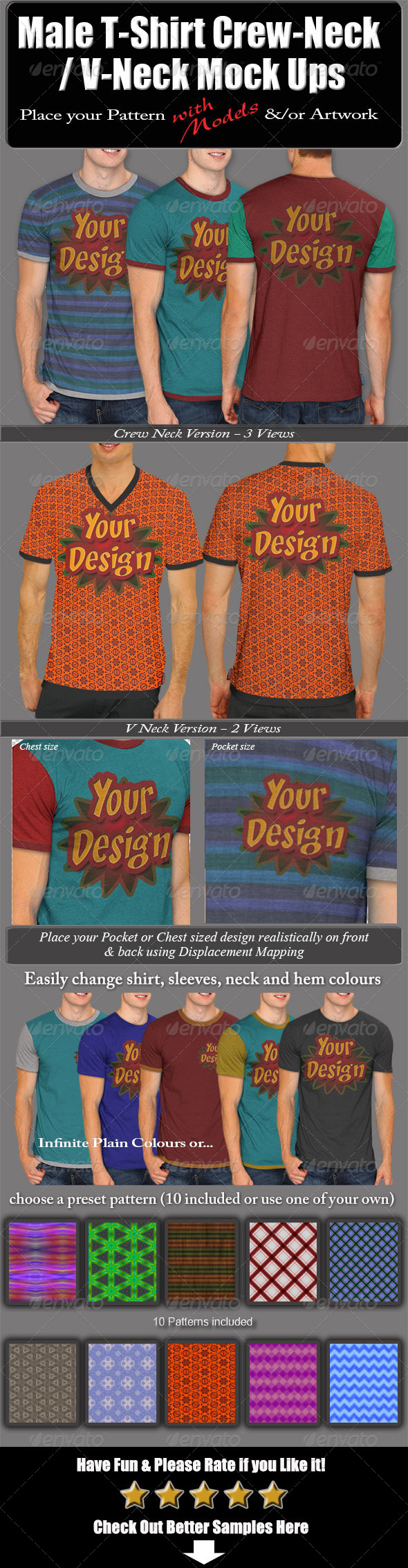 GraphicRiver Male T-Shirt Crew-Neck V-Neck Mock Ups 6480726
