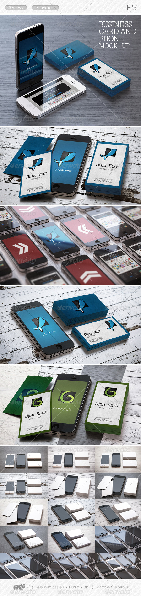 GraphicRiver Business card and phone mock-ups 6481566