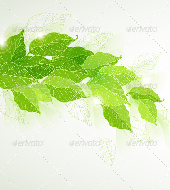 GraphicRiver Background with Green Leaves 6481608