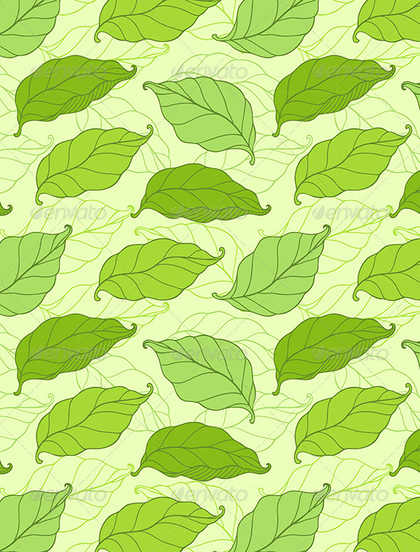 GraphicRiver Pattern with Green Spring Leaves 6481626