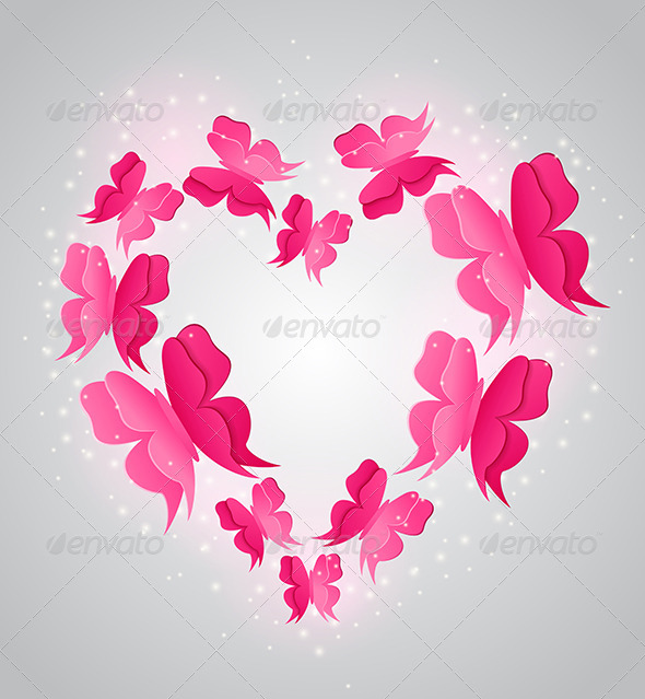 GraphicRiver Heart and Pink Butterflies 6481640
