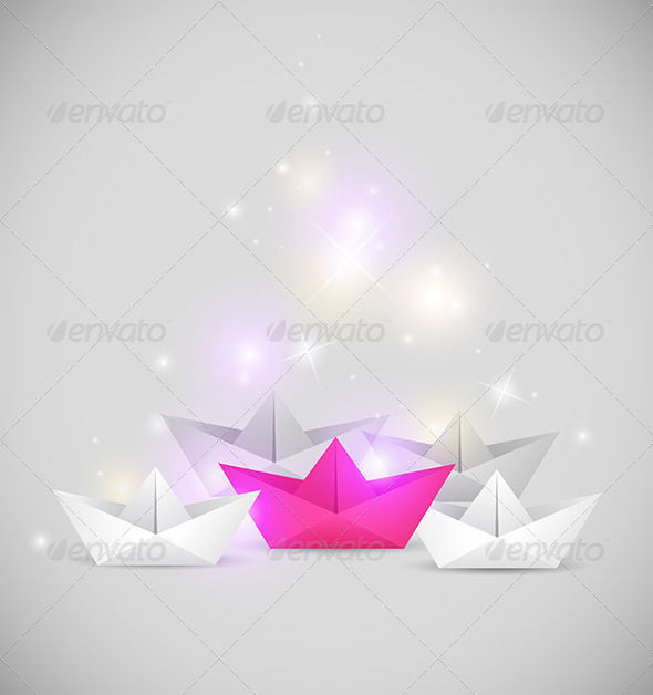 Background with Paper Boat Origami