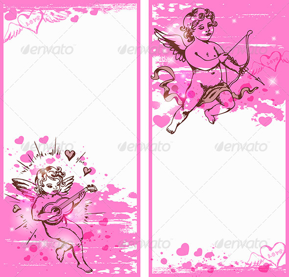 GraphicRiver Vertical Pink Banners with Cupids 6481717