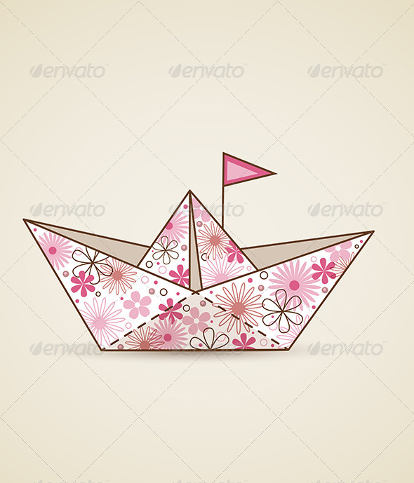 GraphicRiver Paper Boat and Flowers 6481782