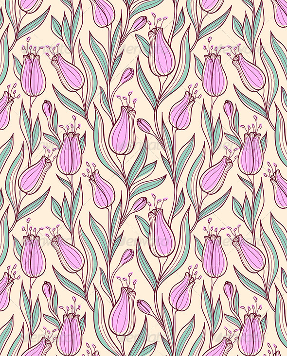 GraphicRiver Seamless Pattern with Pink Tulips 6481800
