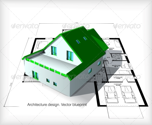 GraphicRiver Architecture Model House on Top of Blueprints 6482297