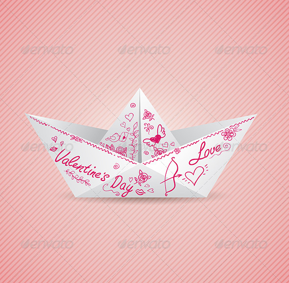 GraphicRiver Background with Paper Boat 6482360