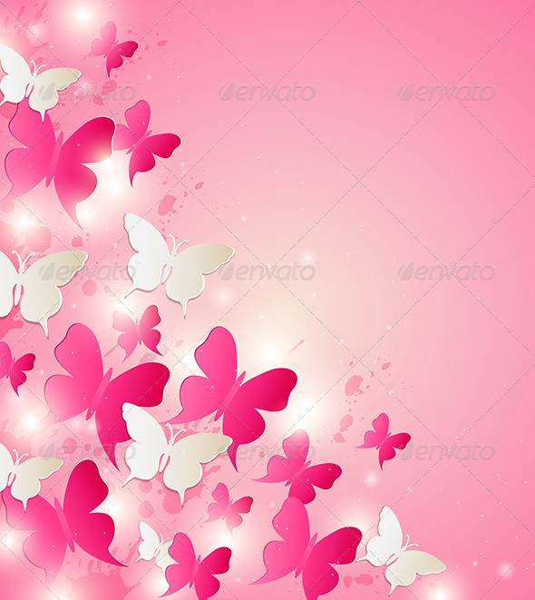 GraphicRiver Abstract Background with Red and White Butterflies 6482471