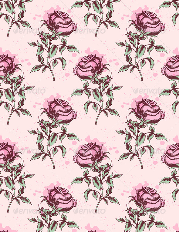 GraphicRiver Vintage Seamless Pattern with Pink Roses 6482491