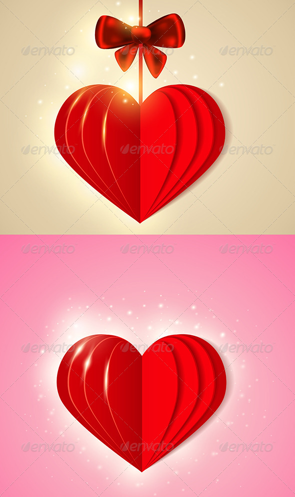 GraphicRiver Red Shining Paper Heart 6482414