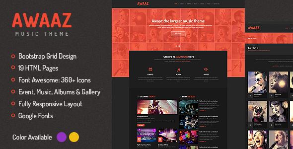 Awaaz Music - Responsive HTML5 Template