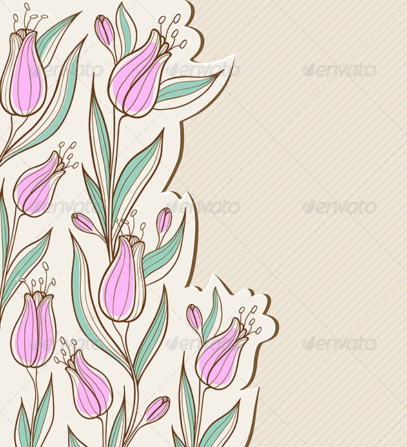 GraphicRiver Floral Background with Pink Tulips 6482578