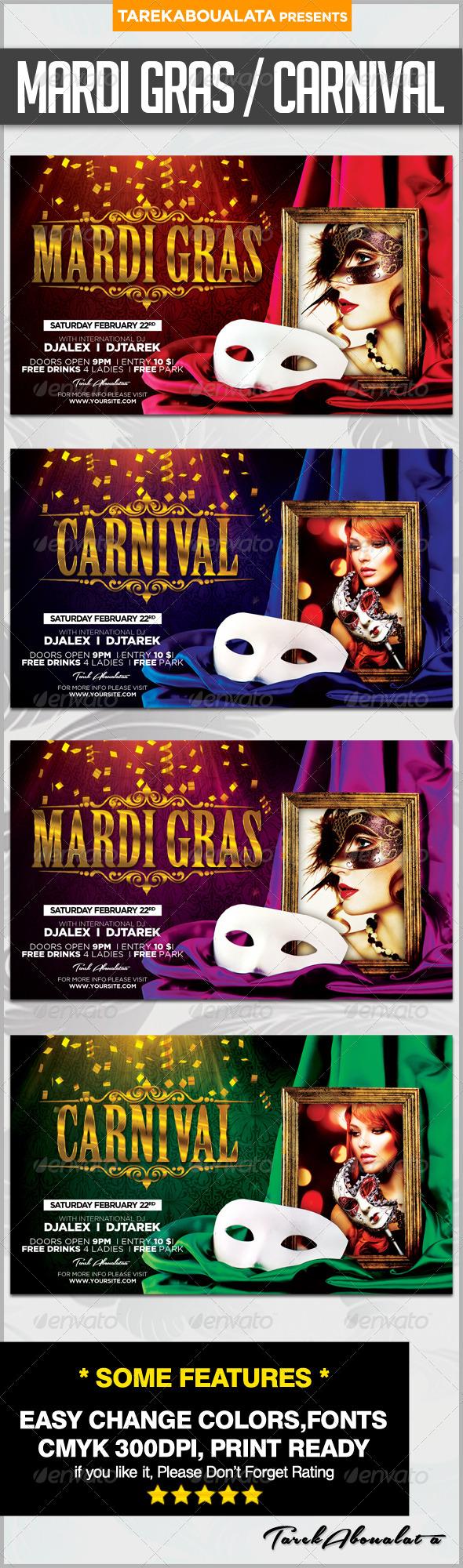 GraphicRiver Mardi Gras Carnival Flyer 6482748
