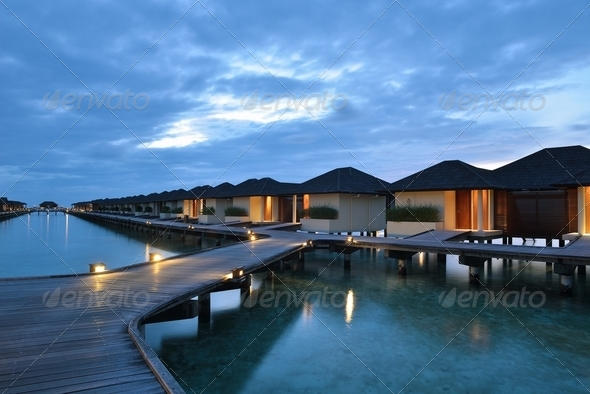 tropical water home villas - Stock Photo - Images