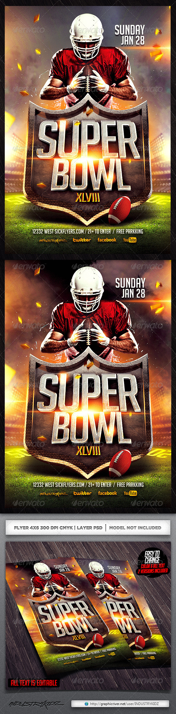 GraphicRiver Superbowl Football Flyer Template 6483393