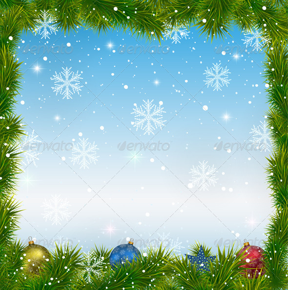 GraphicRiver Christmas Blue Background with Snowflakes 6483503