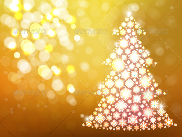 Gold Background with Christmas Tree