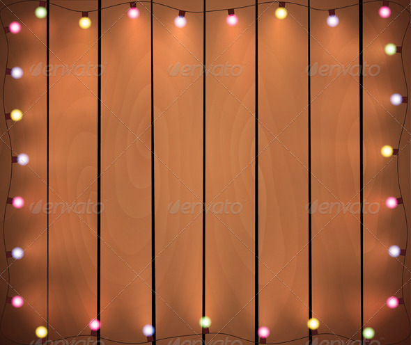 GraphicRiver Christmas Lights on Wooden Background 6483530