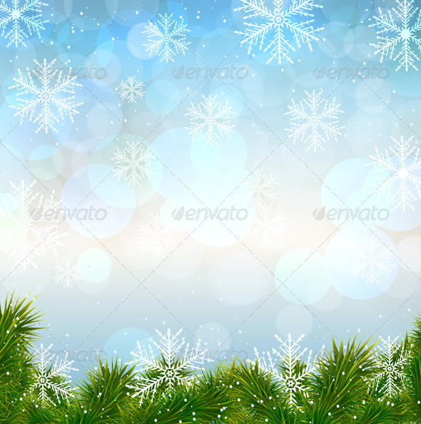 GraphicRiver Christmas Snow Background with Fir Twigs 6471386