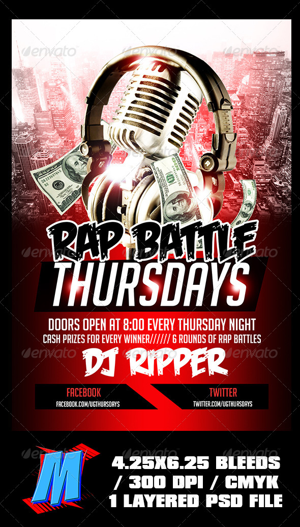 GraphicRiver Rap Battle Thursdays Flyer Template 6483946