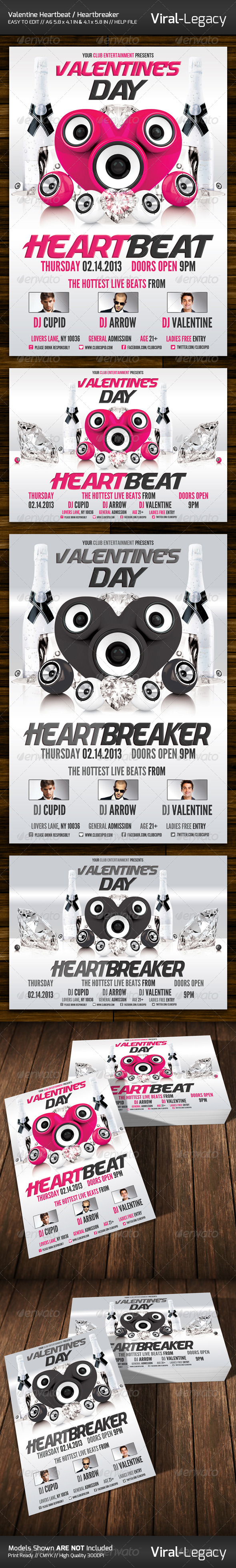 Valentine's Day Heartbeat / Heartbreaker Flyer - Clubs & Parties Events