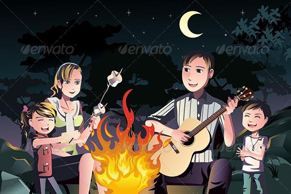 GraphicRiver Family Having a Bonfire 6484742