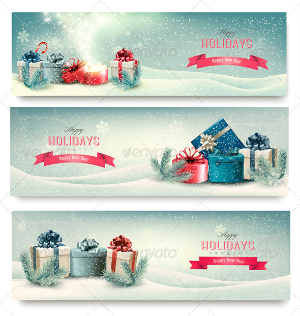 GraphicRiver Christmas Winter Banners with Presents 6485101