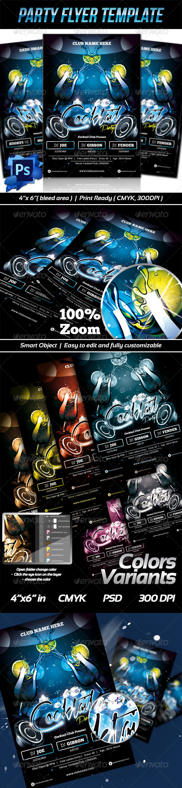 GraphicRiver Cocktail Party Flyer Templates 6461087