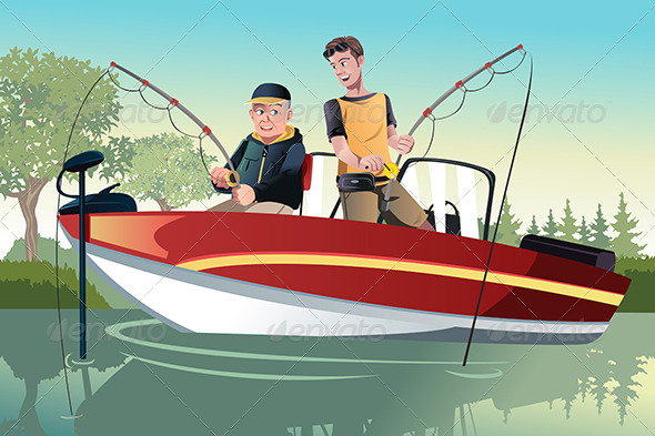 GraphicRiver Father and Son Fishing 6485105