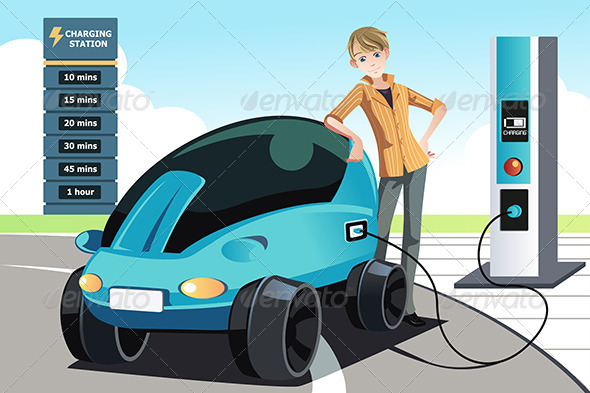 GraphicRiver Man Charging Electric Car 6485109